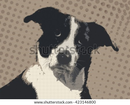 Dog looking with attention at camera. Comic book style imitation  - stock photo