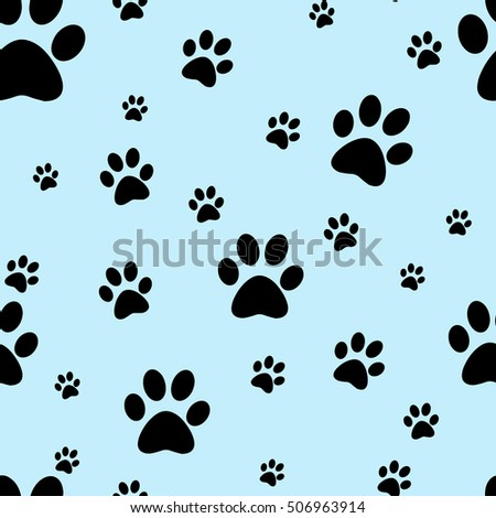 Dog paw print seamless. Traces of Cat Textile Pattern. Rasterized copy.