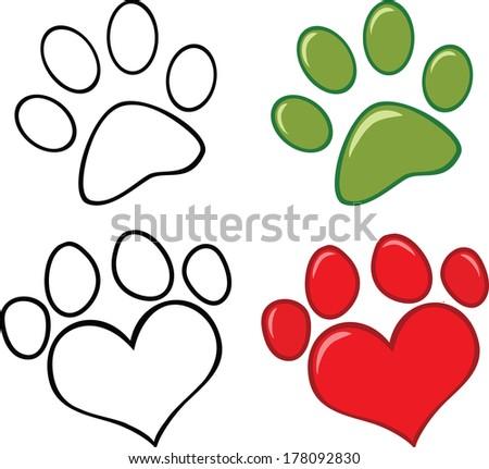 Dog Paw. Set Raster Collection - stock photo