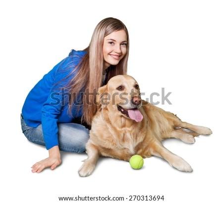 Dog, pet, white. - stock photo