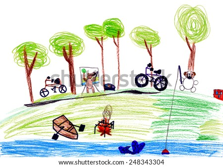 dog resting at the river. child drawing. - stock photo