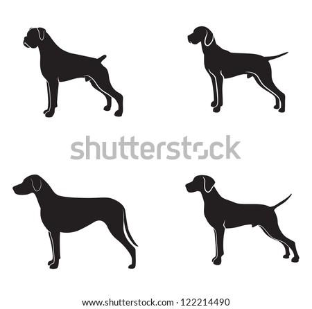 Dog silhouette - stock photo