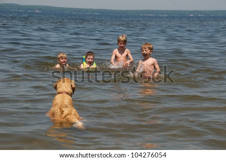 Dog sits in the water and teaches the kids to doggy paddle - stock photo