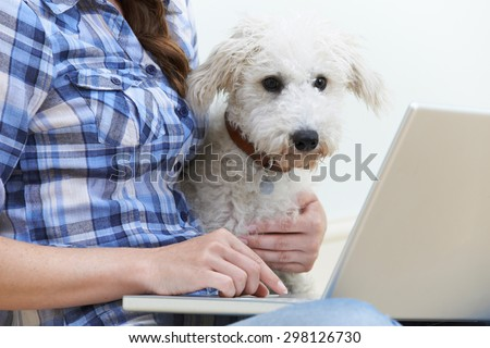 Dog Sitting Next To Owner Using Laptop - stock photo