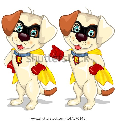 Dog superhero in two position - stock photo