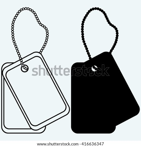 Dog tags. Isolated on blue background. Raster version