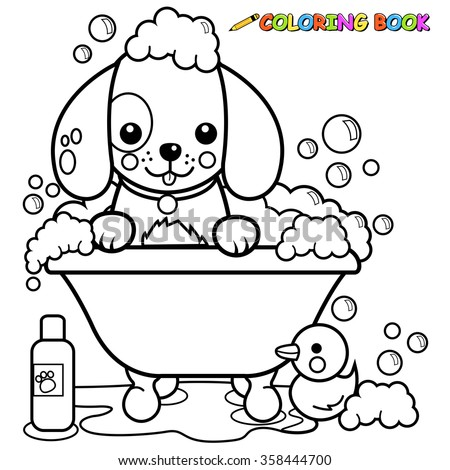Dog Tub Taking Bath Coloring Book Stock Vector