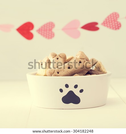 Dog treats on a white bowl with a garland of hearts - stock photo