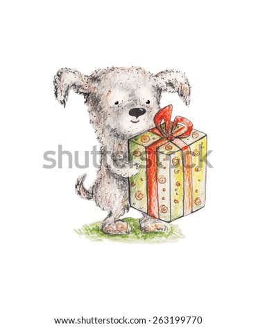 Dog with present. Watercolor illustration. Hand drawing