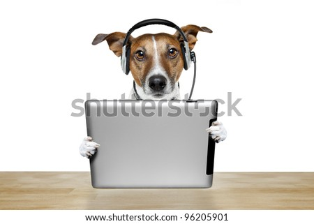 dog with tablet pc - stock photo