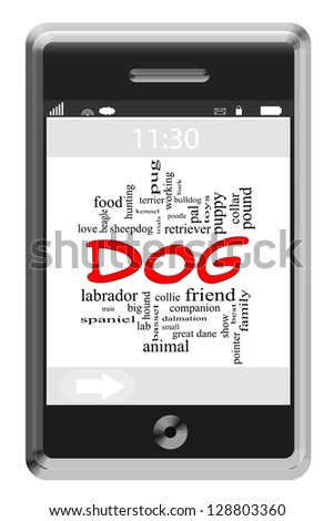 Dog Word Cloud Concept of Touchscreen Phone with great terms such as bark, puppy, friend, love and more. - stock photo