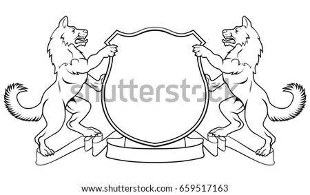 Dogs Wolves Crest Coat Arms Heraldic Stock Illustration
