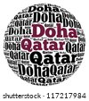 Doha capital city of Qatar info-text graphics and arrangement concept on white background (word cloud) - stock photo