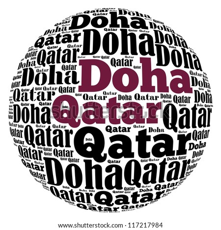 Doha capital city of Qatar info-text graphics and arrangement concept on white background (word cloud)