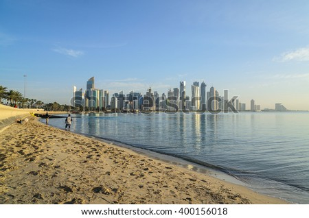 DOHA, QATAR - APRIL 3: The West Bay City skyline as viewed from corniche on April 3, 2016 in Doha, Qatar. The West Bay is considered as one of the most prominent districts of Doha