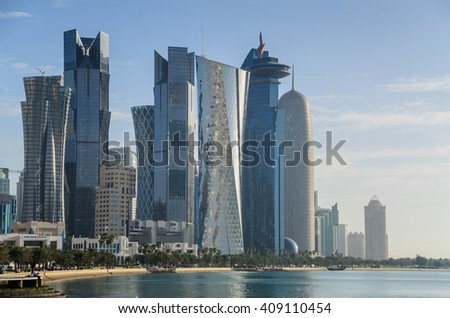 DOHA, QATAR - APRIL 21: The West Bay City skyline as viewed from corniche on April 21, 2016 in Doha, Qatar. The West Bay is considered as one of the most prominent districts of Doha