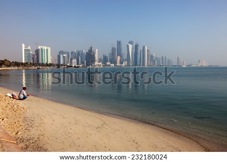 DOHA, QATAR - JAN 6: Skyline of the Doha downtown district Dafna. January 6, 2012 in Doha, Qatar, Middle East