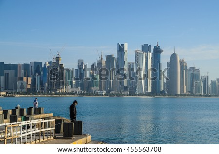 DOHA, QATAR - JULY 20: The West Bay area of Doha on July 20, 2016 in Doha, Qatar. The West Bay is considered as one of the most prominent districts of Doha
