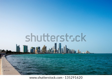 DOHA, QATAR-MAY 26:Doha's Corniche in West Bay on May 26, 2010 in Doha, Qatar. The Corniche is a popular exercise location known for fantastic promenades, water sports, traditional dhow races and more