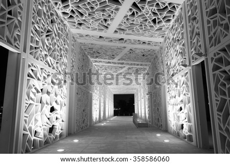 DOHA, QATAR - NOV 20: Black and White picture of a tunnel at the Qatar Education City Graduation Arena. November 20, 2015 in Doha, Qatar