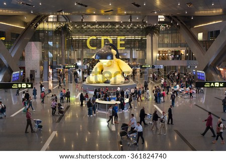DOHA, QATAR - NOV 23: Interior of the new Hamad International Airport in Doha. November 23, 2015 in Doha, Qatar, Middle East