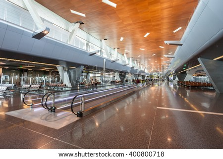 DOHA, QATAR - NOVEMBER 03, 2015: Hamad International Airport is the international airport for Doha, the capital city of Qatar. It replaced the former Doha International Airport as Qatar airport.