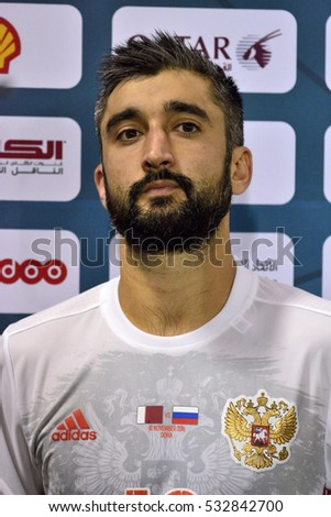 DOHA, QATAR - NOVEMBER 10, 2016. Russian international midfielder Alexander Samedov after international friendly Qatar vs Russia (2-1) at Al Sadd stadium in Doha.