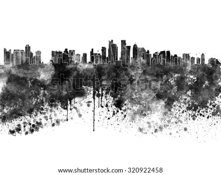 Doha skyline in black watercolor  - stock photo