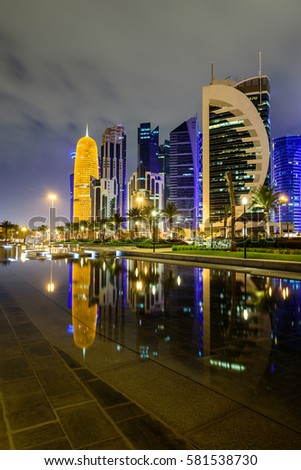 Doha skyline with water reflection, Qatar, Middle East.