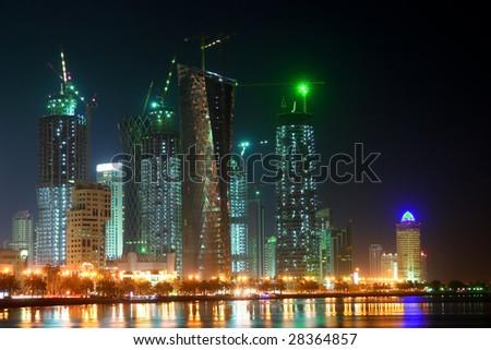 Doha - The capital city of Qatar - Night scene - stock photo