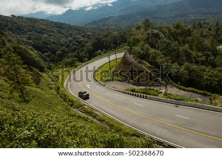 Doi Inthanon National park in the sunrise and holiday at Chiang