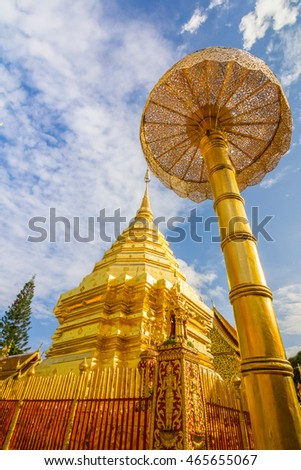 doi su thap at changmai province with blue sky background landmark in Thailand