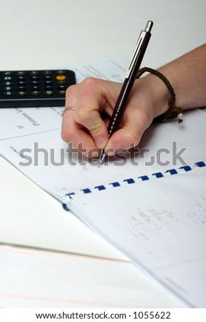 Doing the maths. - stock photo