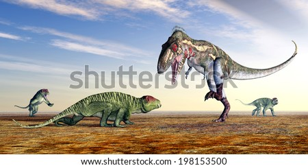 Doliosauriscus and Nanotyrannus Computer generated 3D illustration - stock photo