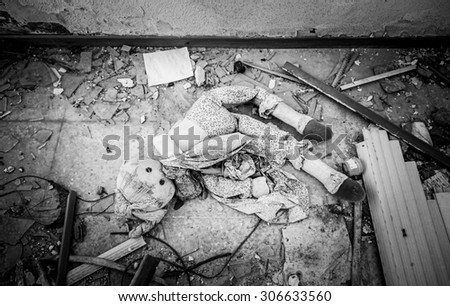 Doll house interior ruins, abandonment and blight - stock photo