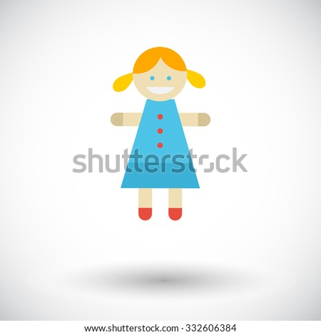 Doll toy icon. Flat related icon for web and mobile applications. It can be used as - logo, pictogram, icon, infographic element. Illustration.  - stock photo