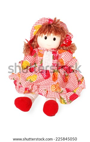 doll, toy, red, gift, surprise, kitsch, object - stock photo