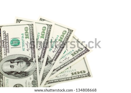 Dollar abstract background against white, with one hundred dollars