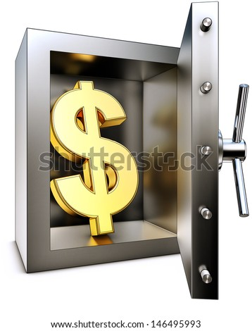 dollar and bank vault