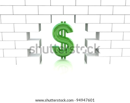 Dollar and brick wall