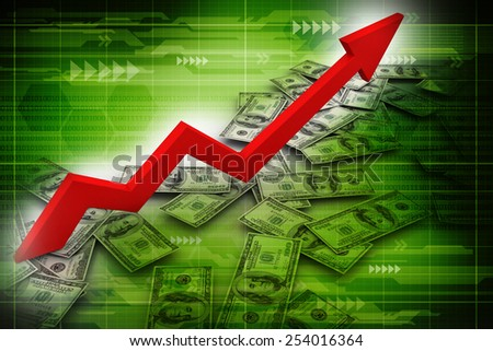 dollar and business graph - stock photo