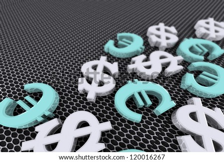 Dollar and euro concept with silver dollar symbols and blue euro symbols over grey background