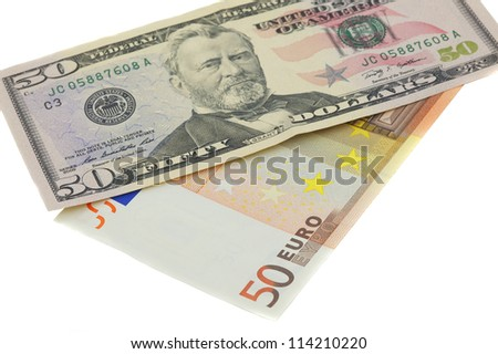 Dollar And Euro Isolated On White - stock photo