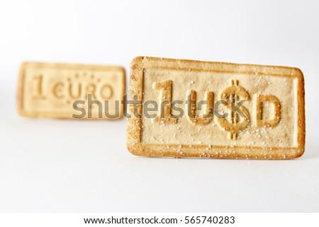 Dollar Euro Money Symbols On Biscuits Stock Photo 565740283