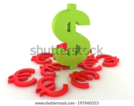 Dollar and euro on a white background