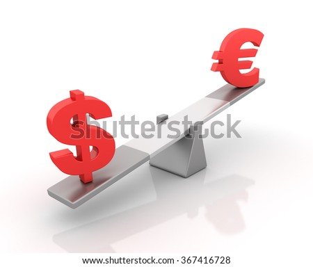 Dollar and Euro Sign Balancing on a Seesaw - Balance Concept - High Quality 3D Render  - stock photo