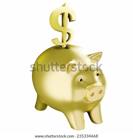 dollar and gold piggy bank  - stock photo