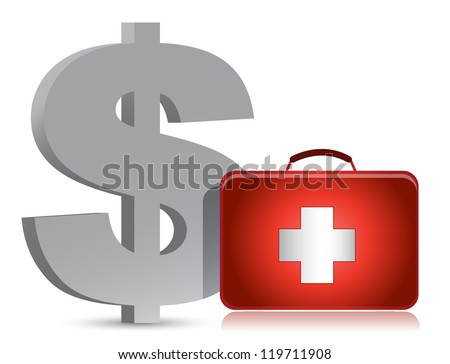 dollar and medical kit illustration design over white - stock photo