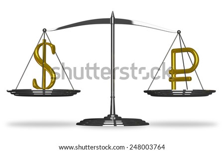 Dollar and ruble sign on scales isolated