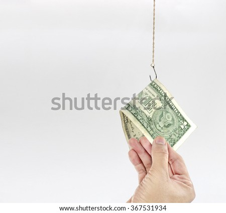 Dollar Banknote Baited Hook - stock photo